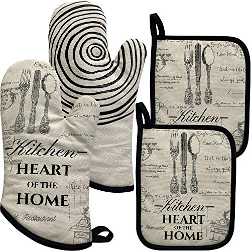 REFUDI 1 Paar Silikon rutschfeste Lang Baumwolle Ofenhandschuhe 32 cm, mit 2 Topflappen Set 18 * 23 cm (1 Paar 2 Topflappen)