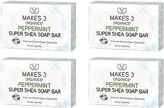 Makes 3 Organics Peppermint Shea Butter Bar Soap, Peppermint, 16 Ounce