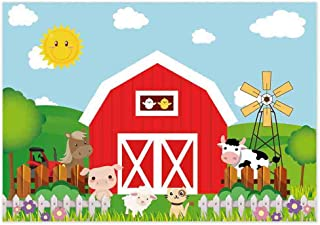 Allenjoy 7x5ft Cartoon Farm Animals Photography Backdrop Red Barn Barnyard Baby Shower Boys Birthday Party Decoration Banner Little Farmer Photo Background