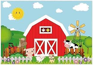 Allenjoy 7x5ft Cartoon Farm Animals Photography Backdrop Red Barn Barnyard Baby Shower Boys Birthday Party Decoration Banner Little Farmer Photo Background