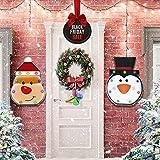 TemwJa Decoración de pared y puerta de Navidad muñeco de nieve y Papá Noel para colgar en interiores con luces de neón, adornos de Navidad de hierro artesanía, decoración de pared de metal, 2...