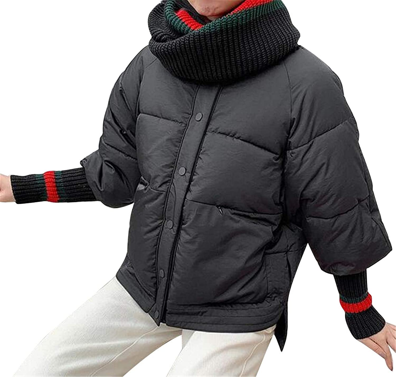 Jotebriyo Womens Thermal Winter Loose Knitting Irregular Down Quilted Jacket Coat Outerwear