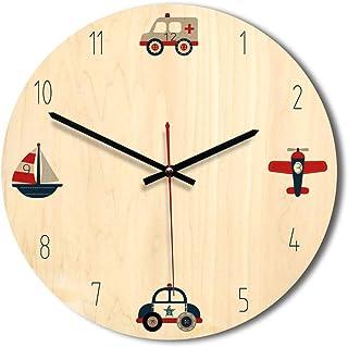 Ruosaren Reloj de Pared Batería de Madera operada 12 Pulgadas Relojes silenciosos sin tictac Calcomanía de Pared para Dormitorio Infantil Niños Niñas (Carretilla)