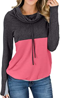 Womens Cowl Neck Color Block Striped Tunic Sweatshirt Drawstring Pullover Tops with Pocket