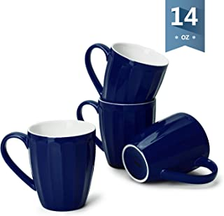 Sweese 602.103 Porcelain Fluted Mugs - 14 Ounce Coffee Cup Set for Coffee, Tea, Cocoa, Set of 4, Navy