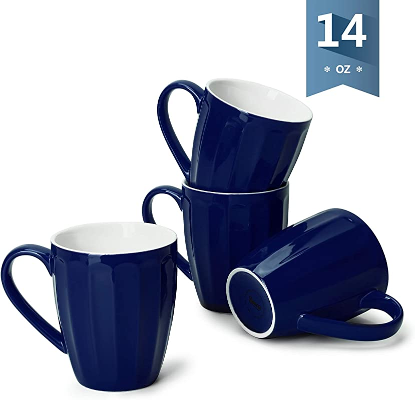 Sweese 602 103 Porcelain Fluted Mugs 14 Ounce Coffee Cup Set For Coffee Tea Cocoa Set Of 4 Navy