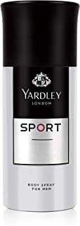 Yardley Sport Men Body Spray, Luxurious unique scent for gents, Marine, Musk and Amber, 150 ml