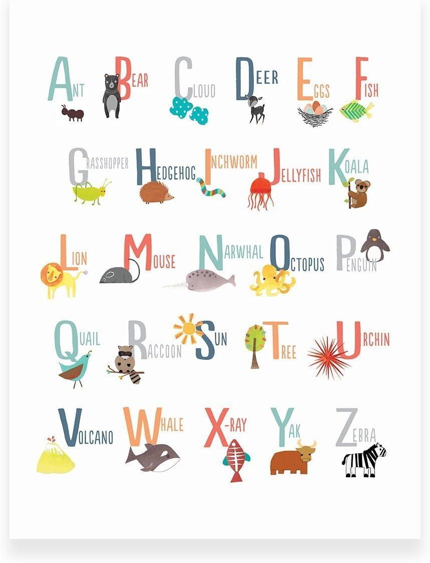 Amazon.com Animal Alphabet Poster, Wall Art Print 20x20 Inch ...