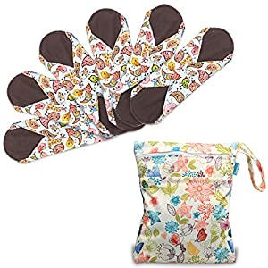 Teamoy Reusable Sanitary Pads(Pack of 6, 25.4cm/10 Inch), Bamboo Cloth Menstrual Pads/Sanitary Napkins/Panty Liners with Wet Bag, Super-absorbent, Comfortable and Easy to wash, Great for Heavy Flow or Overnight