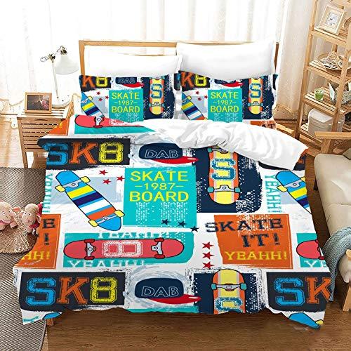 QXbecky Car Sailing Bed Linen Soft Microfiber Quilt Cover Pillowcase 3 Piece Set Hidden Zipper Twin Bed