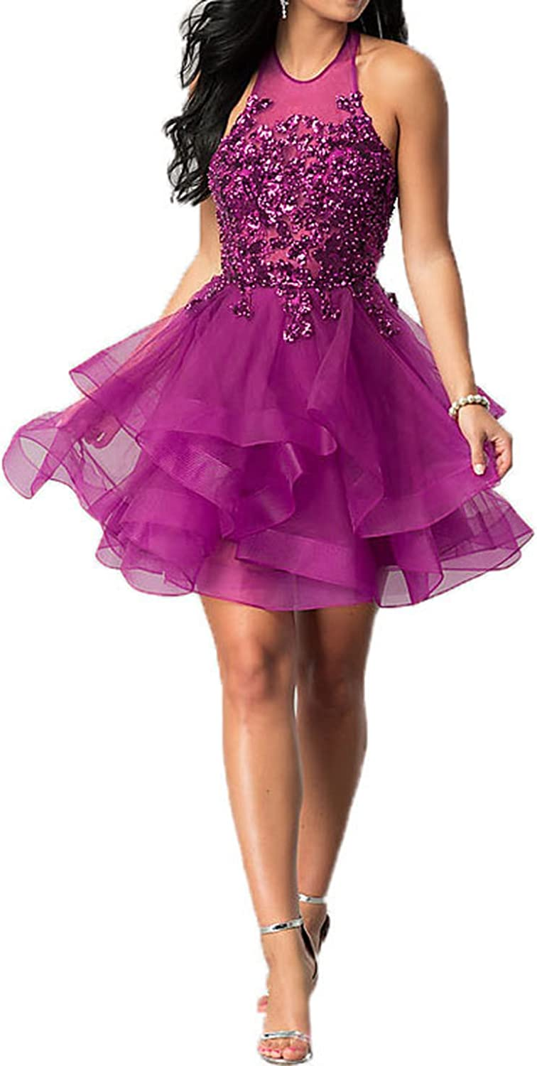 Uryouthstyle Sparkly 2018 Short Ruffle Homecoming Dresses Backless