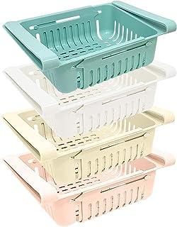 joeji's Kitchen Lot Boite de Rangement frigo (x 4) / Rangement Cuisine & frigo rétractable en 4 Couleurs (Bleu, Blanc, Ros...