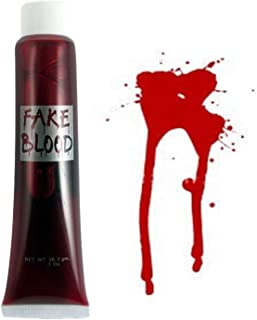 SHATCHI Fake Red Blood Halloween Costume Fancy Accessory Makeup Dress Up Vampire Zombie Face Body Paint Theatrical Fun, 3 ...