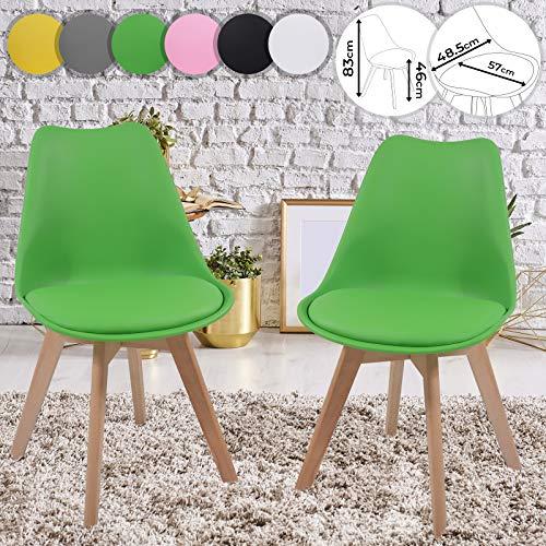Juego de 2 sillas de comedor acolchadas con cojín, plástico, metal, madera maciza, color a elegir – Silla de cocina en estilo escandinavo, silla de oficina en diseño vintage retro, sillas de salón