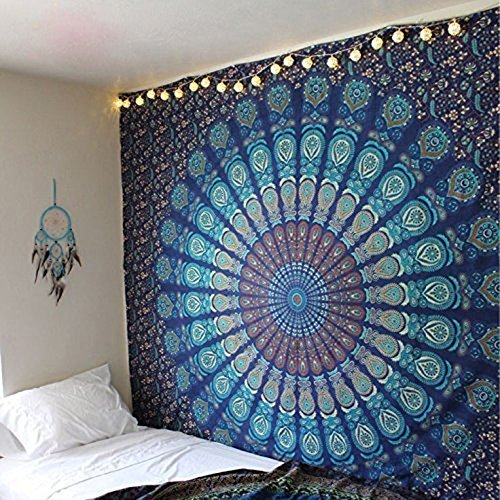 Craftozone Multicolored Mandala Tapestry Indian Wall Hanging, Bed Sheet, Comforter Picnic Beach Sheet, Quality Hippie (Turquoise, Double)