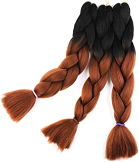 Braid Hair Extensions Black to Dark Brown 24 inch Braiding Hair High Temperature Fiber 3pcs/Lot 100g/pc For Crochet Twist Braiding Hair (1B/Dark Brown)
