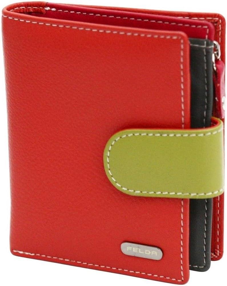 Felda portafoglio da donna in pelle porta carte di credito con protezione anticlonazione 16-103 Orange Multi