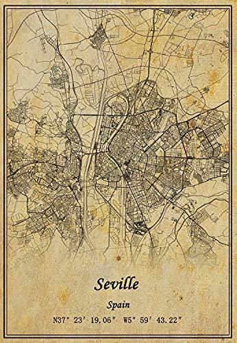 Póster de la pared del mapa de Sevilla de España con impresión en lienzo de estilo vintage, sin marco, decoración de regalo 30,5 x 40,6 cm