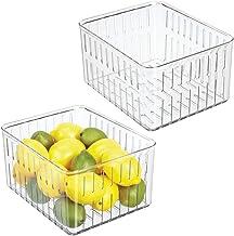 mDesign Juego de 2 cajas plásticas organizadoras grandes – Práctico organizador de despensa sin tapa – Amplio organizador de nevera con ranuras laterales de ventilación – transparente