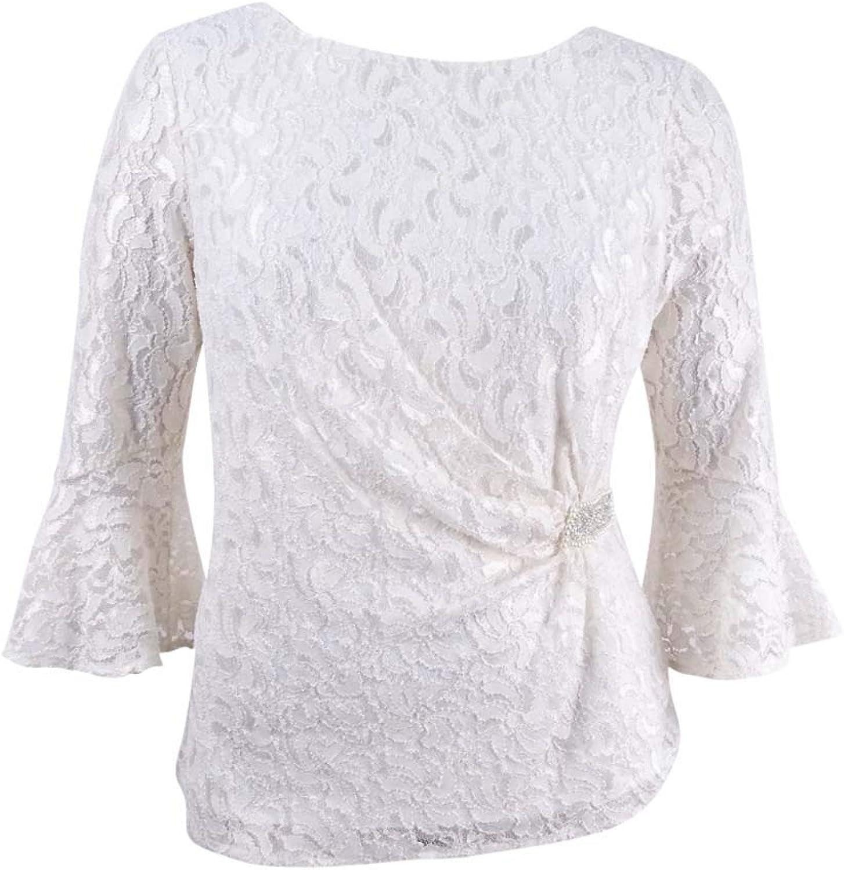 Alex Evenings Womens Petites Metallic Lace Blouse Ivory PM