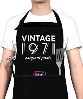 50th Birthday Decorations for Men and Women, Vintage 1971 Birthday Gift, Party Supplies - 50th Anniversary Present Apron w...
