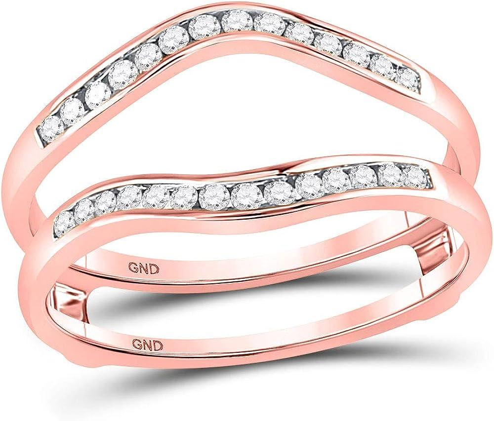14kt Rose Gold Womens Round Diamond Wedding Wrap Ring Guard Enhancer 1/4 Cttw