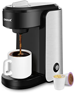 CHULUX Stainless Steel Single Serve Coffee Maker for Capsule ,Visiable Gradient Water Reservoir,One Button Operation and A...