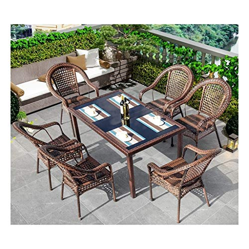 BDBT Rattan Garden Furniture Sets Patio Table and Chairs Sets Glass Top Coffee Table Patio Set Coffee Table Patio Conversation Outdoor