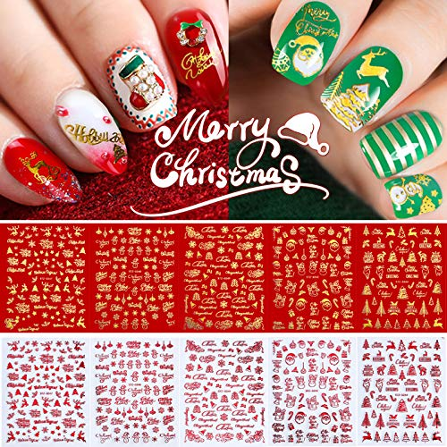 Christmas Nail Art Stickers Designs,10 Sheets Gold Red Winter Nail Decals Self-Adhesive Xmas Tree Snowflake Bell Reindeer Santa Claus Snowman Holiday Decorations for Christmas and New Year Party