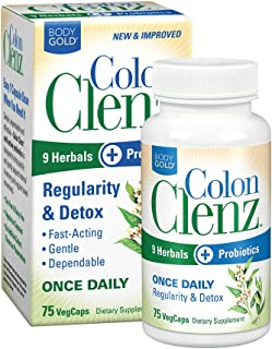Body Gold Colon Clenz Regularity & Detox Formula | Once Daily Support with 9 Herbs + Active Probiotics | 75 CT