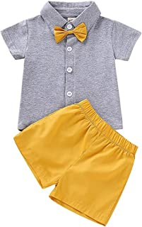 Infant Toddler Kids Baby Boys Outfit T-Shirt Tee Tops+Solid Shorts Pants Clothes Set Bodysuit