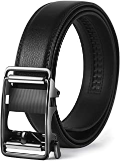Megan ベルト メンズ 紳士 ビジネス カジュアル 革 黒 シルバー オートロック式バックル サイズ調節可能 上質レザー 穴なし 無段階調節 高級感 おしゃれ 祝いギフトBOX付