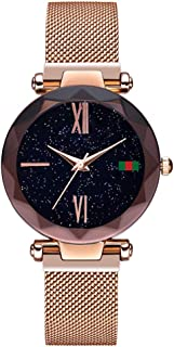 Ladies Analog Quartz Watch Shining Starry Dial with Glittered Rhinestone Watch for Women and Girls