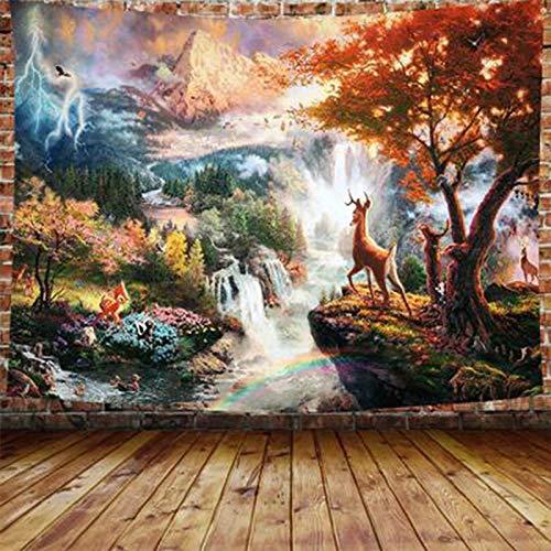 KHKJ Tapiz Colgante de Pared Mandela psicodélico Luna tapices de Tela de Pared Alfombra Hippie decoración del hogar A18 200x180cm