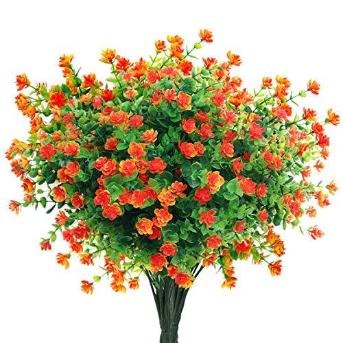Mocoosy 8 Paquetes Flores Artificiales Plantas de Exterior, Resistente a los Rayos UV Naranja Rojo Flores Falsas Realista plástico Flores Artificiales para el hogar jardín Patio Granja Decoraciones