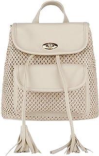 JpOTSUT Fashion Female Student Backpack Casual Woven Drawstring Tassel Shoulder Bag Travel Bag Handbag The North face Backpack (Color : White)