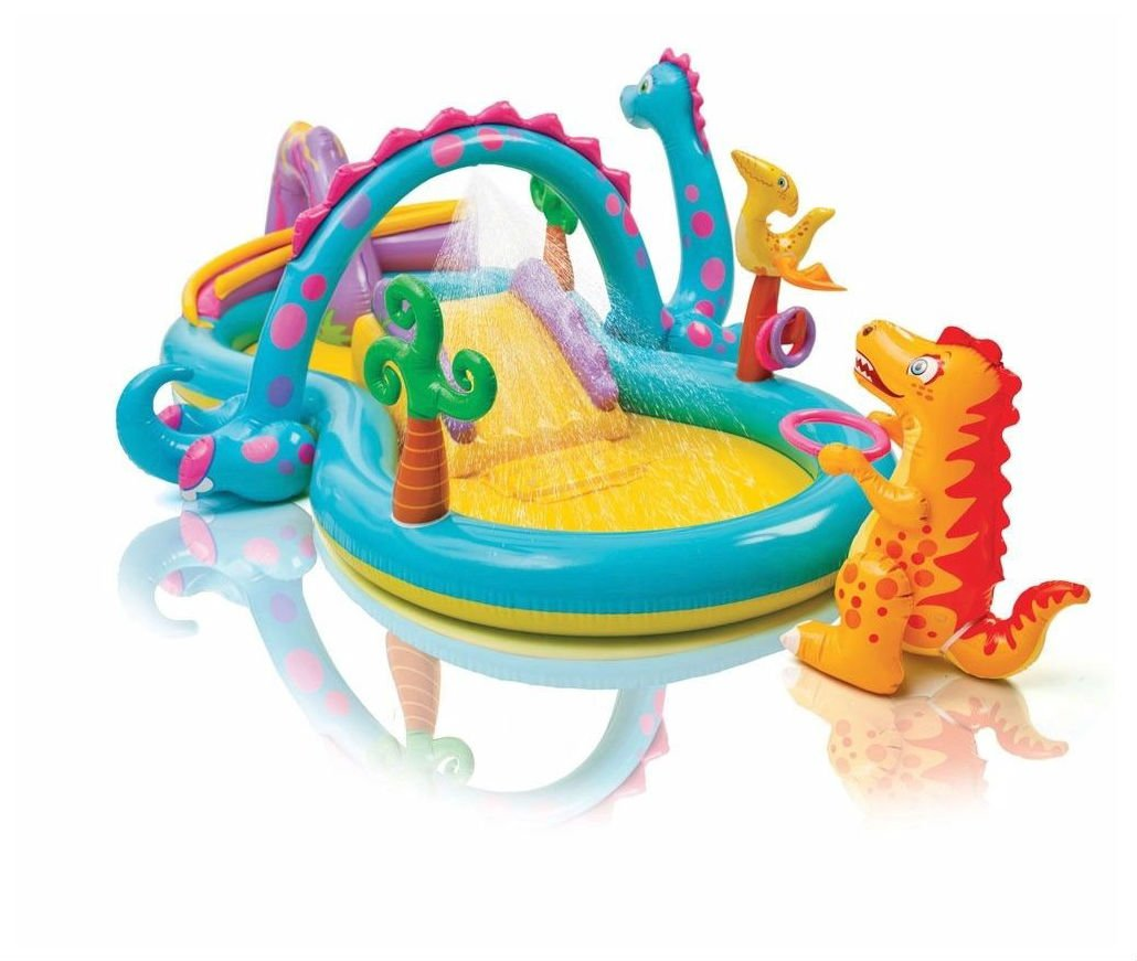 Dinoland Play National uniform free shipping Center Inflatable Kiddie Pool Max 50% OFF Spray with Wading Fu