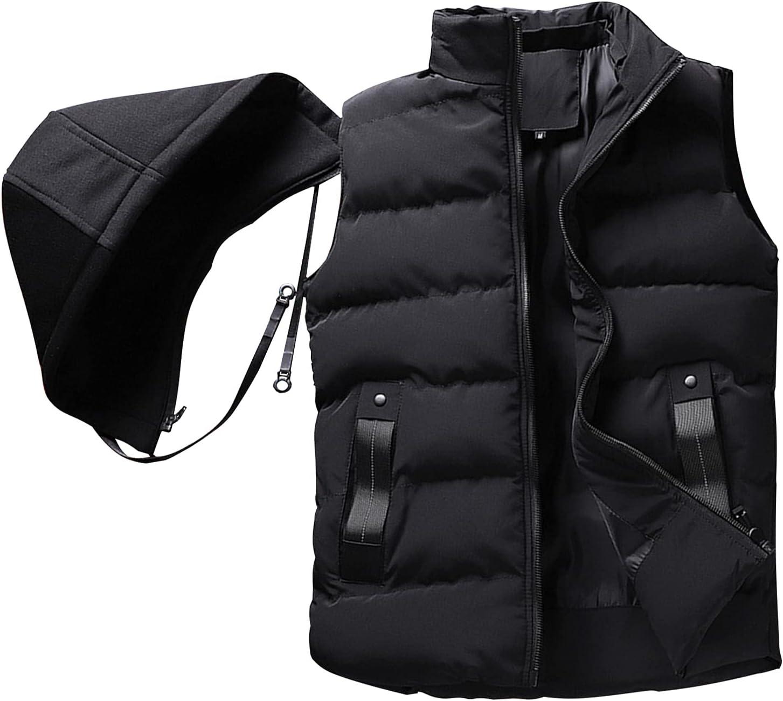 BWCX Men Women Casual Down Cotton Outdoor Vest Removable Hooded Full-Zip Waistcoat Protective Outdoor,Black,4XL