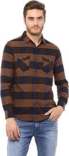 Mufti Mud Checks Shirt with Bold Horizontal Stipes