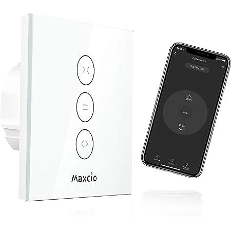 【LED Controlable】Interruptor Persiana WiFi, Maxcio Interruptor Pared WiFi Compatible con Alexa y Google Home, Función de Temporizador, para Motor Persiana, Motor Tubular, Motor de Toldos