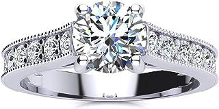 Diamond Engagement Ring for women – 14k White Gold Classic Diamond Engagement Ring- White Gold Diamond Ring with Milgrain ...