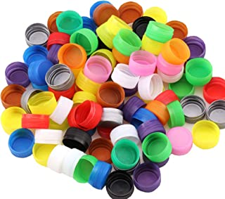 100PCS Plastic Bottle Caps DIY Craft Environmental Protection Bottle Caps for Children Intelligence Development Kindergarten Stickes (Mixed Color)