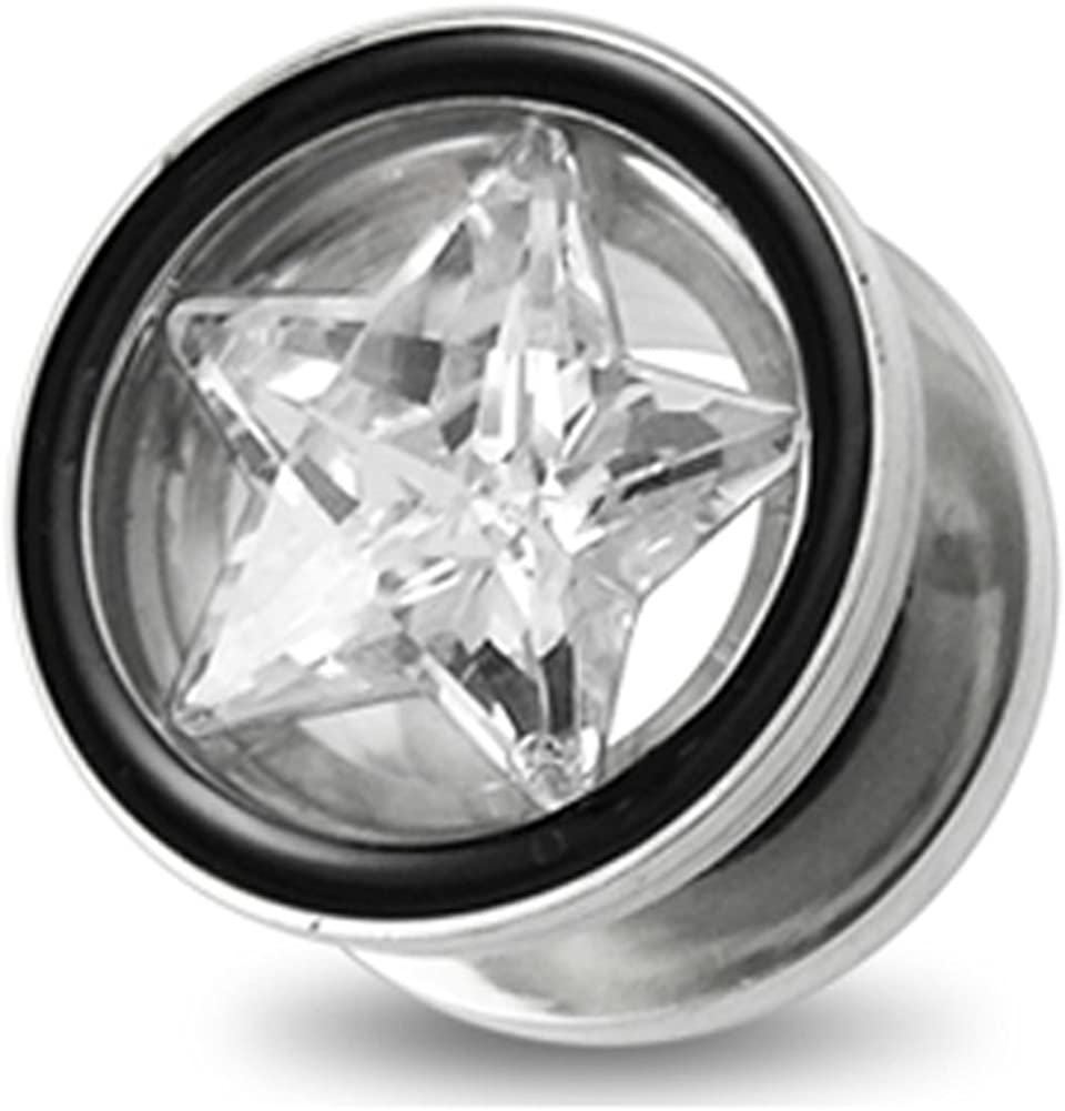 AtoZ Piercing Star CZ Stone 316L Surgical Steel Flesh Tunnel - Sold by Piece