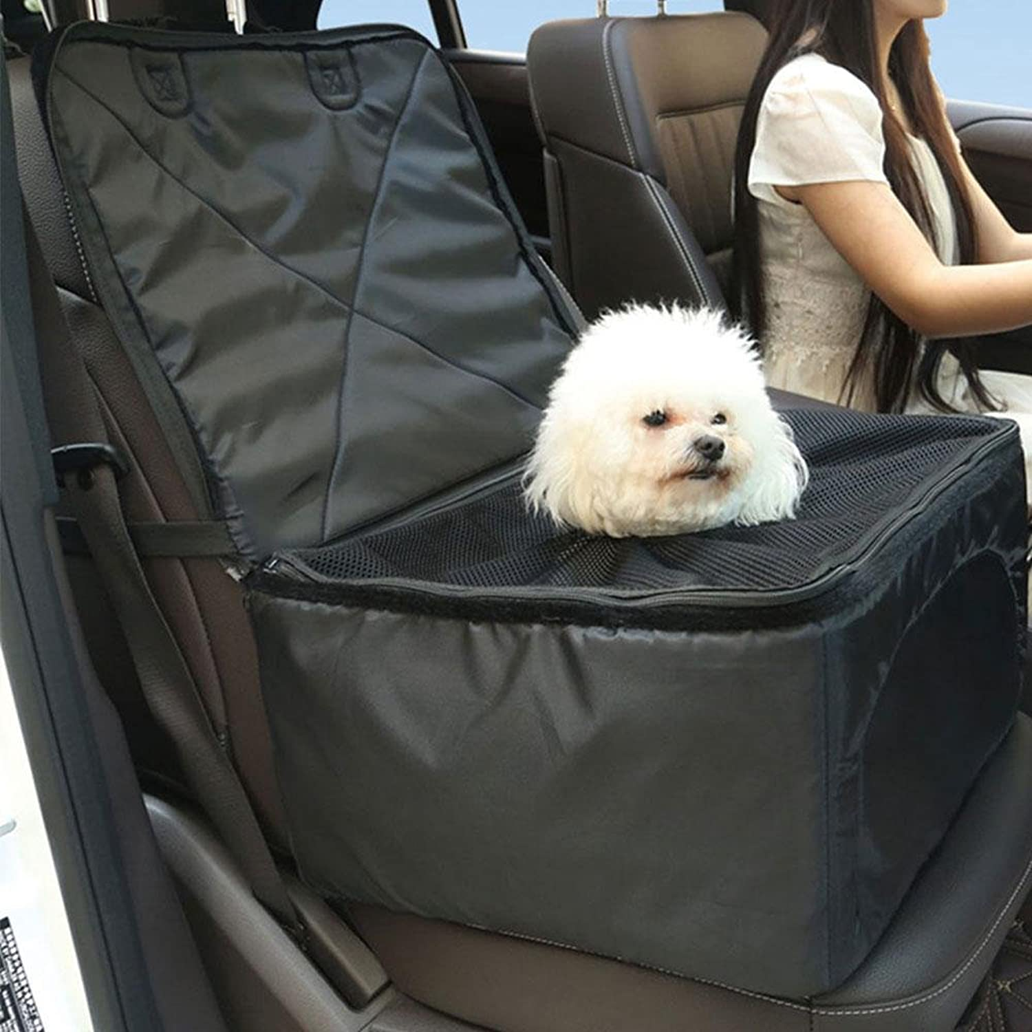 Pet Front Seat Cover,Leegoal Portable Pet Dog Booster Car Seat with ClipOn Safety Leash and Zipper Storage Pocket, Perfect for Small and Medium Pets