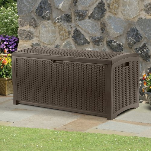 Suncast 99-Gallon Large Deck Box - Lightweight Resin Indoor/Outdoor Storage Container and Seat for Patio Cushions, Gardening Tools and Toys - Store Items on Patio, Garage, Yard - Mocha