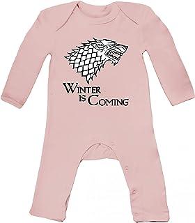 ShirtStreet Baby Strampler Langarm Schlafanzug Jungen Mädchen Wolf - Winter Is Coming