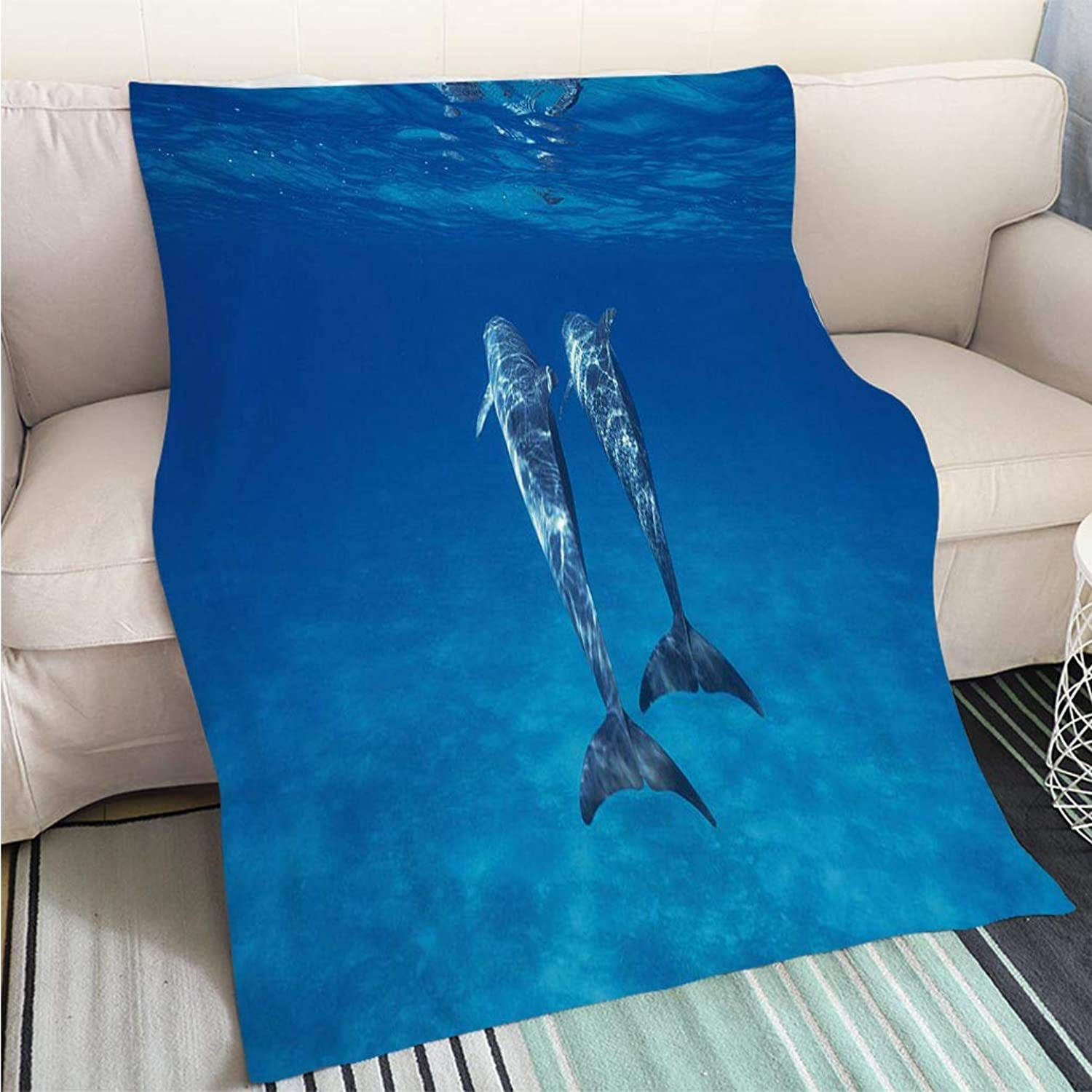 Creative Flannel Printed Blanket for Warm Bedroom Bridled Porpoise Perfect for Couch Sofa or Bed Cool Quilt