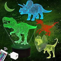 1. FULLOSUN 16-color 4 Pattern 3D Dinosaur Night Light