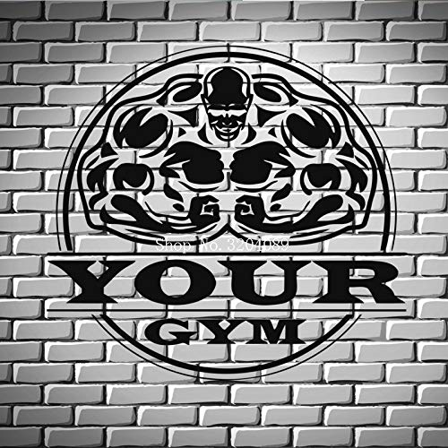 JXLLCD Bodybuilding Fitness Übung Eisen Gewicht Vinyl Wandaufkleber Wohnkultur Wohnzimmer Schlafzimmer selbstklebend - Bitte geben Sie Ihren Namen 60x56 cm