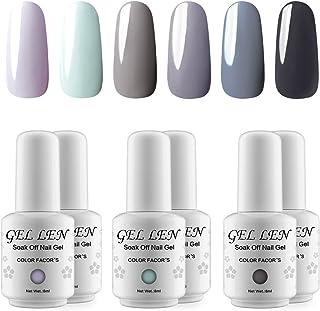Gellen UV LED Gel Nail Polish Classic Gray Series 6 Colors Home Salon Set